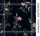 bohemian flowers pattern ... | Shutterstock .eps vector #1267513591