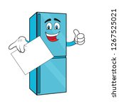 fridge cartoon with face and... | Shutterstock .eps vector #1267525021