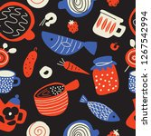 funny food seamless pattern in... | Shutterstock .eps vector #1267542994