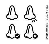 Nose smell vecotr black icons set
