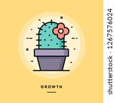 cactus with a flower  growth... | Shutterstock .eps vector #1267576024