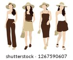 a young woman in natural brown... | Shutterstock .eps vector #1267590607