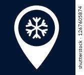 snowflake and map pin. logo...