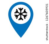 snowflake and map pin. logo...