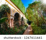 Beautiful garden of villa Ephrussi de Rothschild, with trees and flowers in a sunny day