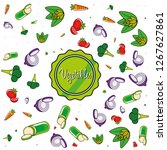 pattern of delicious vegetables | Shutterstock .eps vector #1267627861