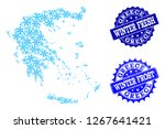 snowed map of greece and rubber ... | Shutterstock .eps vector #1267641421
