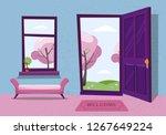 open door into winter landscape ... | Shutterstock .eps vector #1267649224