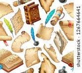 background isometric books of... | Shutterstock .eps vector #1267664641