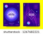 electronic music poster. sound... | Shutterstock .eps vector #1267682221