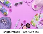 fashion hipster urban flat lay. ... | Shutterstock . vector #1267695451