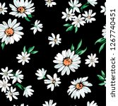 daisy flower print on black... | Shutterstock .eps vector #1267740451