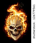 burning skull on black...