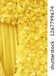 yellow flower curtain | Shutterstock . vector #1267799674