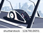 relaxed man driving by smart... | Shutterstock .eps vector #1267813051
