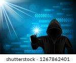 black hooded man  hacker on a...   Shutterstock .eps vector #1267862401