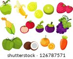 collection of fruits and... | Shutterstock .eps vector #126787571