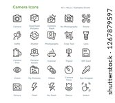 camera icons   outline styled... | Shutterstock .eps vector #1267879597