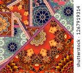 tapestry or silk scarf in... | Shutterstock . vector #1267919314