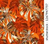 tropical leaves. seamless... | Shutterstock .eps vector #1267947757