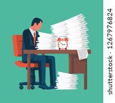 businessman working with a pile ... | Shutterstock .eps vector #1267976824