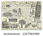 stamp rome italy with colosseum ... | Shutterstock .eps vector #1267981984