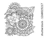 adult coloring book zentangle... | Shutterstock .eps vector #1268025217