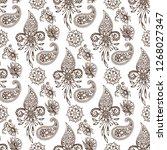 henna tattoo mehndi flower... | Shutterstock .eps vector #1268027347