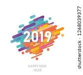 happy new year 2019 vector... | Shutterstock .eps vector #1268039377