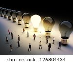 light bulbs in a row with one... | Shutterstock . vector #126804434