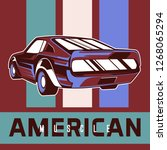retro party poster with car.... | Shutterstock .eps vector #1268065294