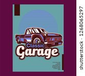 retro party poster with car.... | Shutterstock .eps vector #1268065297