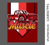 american muscle cars label ... | Shutterstock .eps vector #1268067991