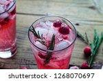 raspberry mojito. refreshing... | Shutterstock . vector #1268070697