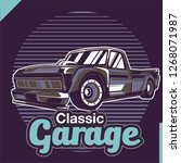 retro style muscle car   vector  | Shutterstock .eps vector #1268071987