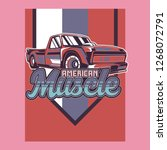 retro style muscle car   vector  | Shutterstock .eps vector #1268072791
