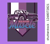 retro style muscle car   vector  | Shutterstock .eps vector #1268072821