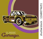 retro party poster with car.... | Shutterstock .eps vector #1268074651