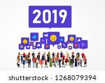 large group of people with... | Shutterstock .eps vector #1268079394