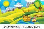 cartoon autumn nature... | Shutterstock . vector #1268091691