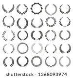 vector laurel wreaths on white...   Shutterstock .eps vector #1268093974