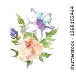 beautiful bouquet of garden... | Shutterstock . vector #1268102464