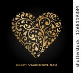 valentine's day card with gold... | Shutterstock .eps vector #1268119384