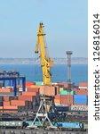 port cargo crane and container... | Shutterstock . vector #126816014