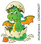 dragon hatching from egg image... | Shutterstock .eps vector #1268190637