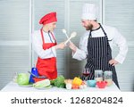 woman and bearded man culinary... | Shutterstock . vector #1268204824