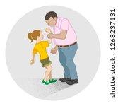 little girl who is grabbed her... | Shutterstock .eps vector #1268237131