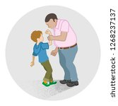 little boy who is grabbed his... | Shutterstock .eps vector #1268237137