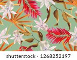 colourful seamless pattern with ... | Shutterstock . vector #1268252197