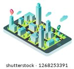 3d isometric smartphone with... | Shutterstock .eps vector #1268253391